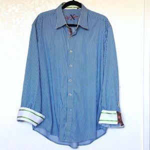 Robert Graham men's flip cuff cotton shirt sz. 2XL